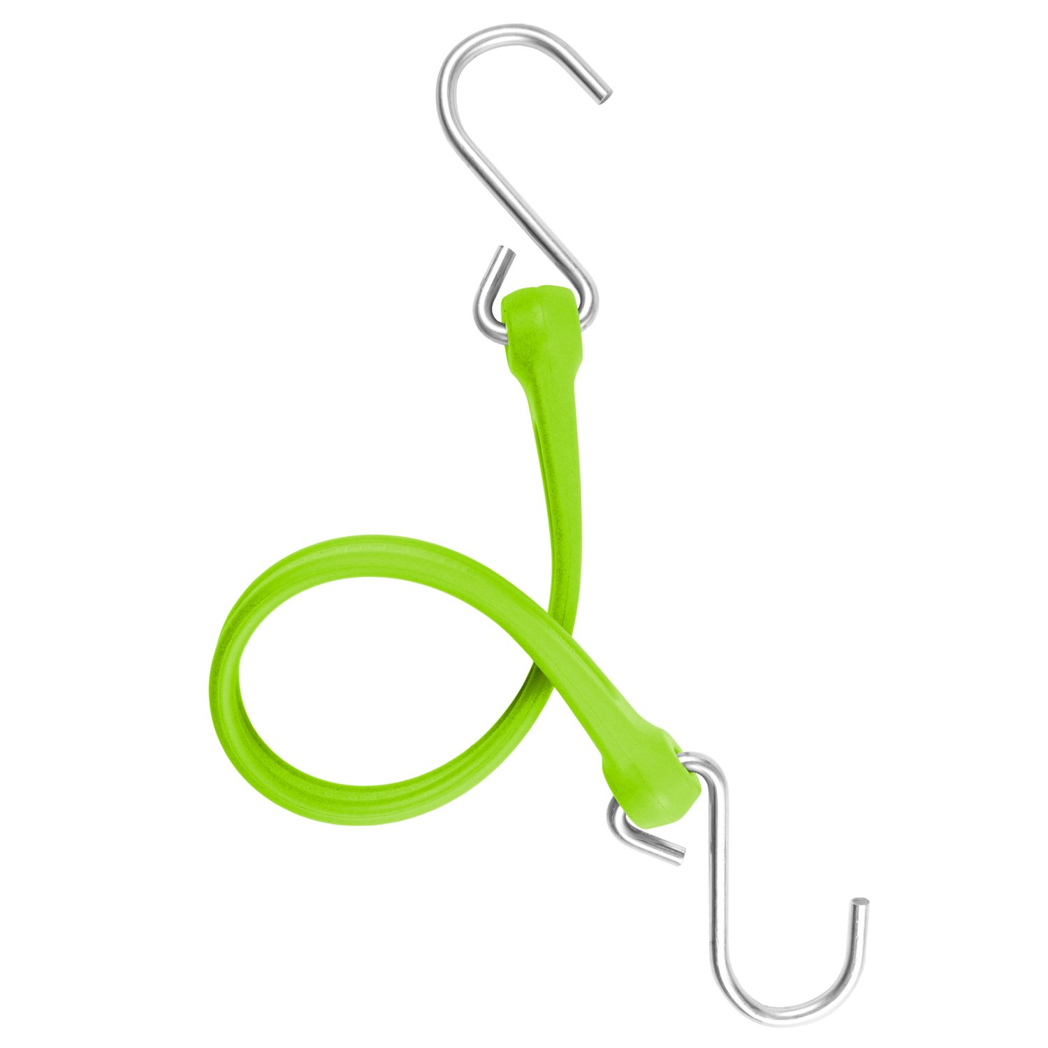 The Perfect Bungee by BihlerFlex, PB18G4PKP Standard Duty Strap with Galvanized Hook, 18'', Safety Green, 4-Pack