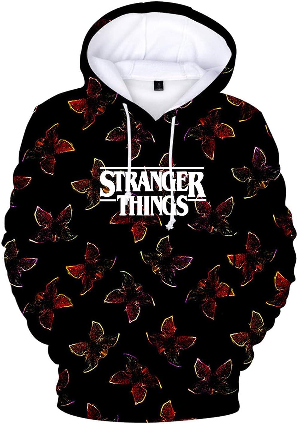 KamiraCoco Unisex Stranger Things Felpa con Cappuccio 3D Stranger Things Season 3 Stampato Felpa per Ragazzi e Ragazze