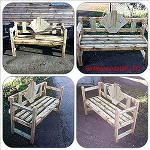 Wooden Garden Bench Art Deco Style Hand Make In The UK