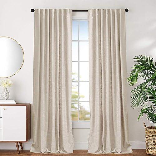 jinchan Beige Cotton Curtains for Bedroom Solid Cotton Curtains 72 inches Long Window Curtain Panels for Living Room Rod Pocket 2 Panels