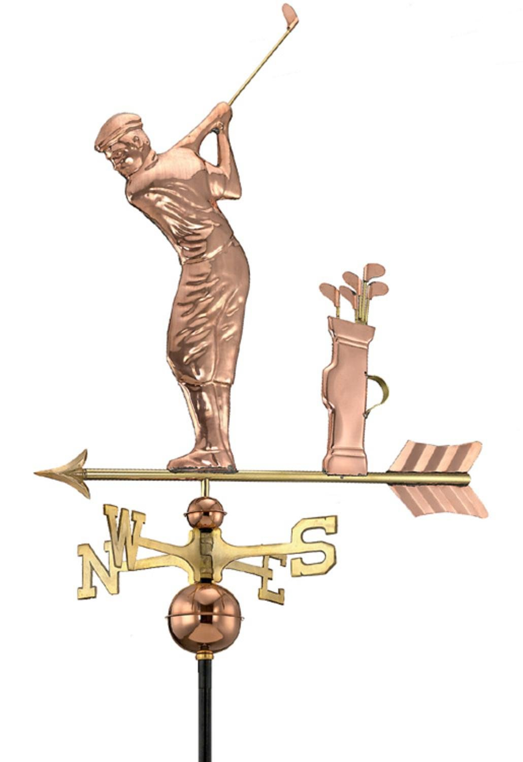 30'' Luxury Polished Copper Sporting Golfer with Clubs Weathervane