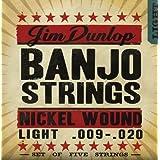 Dunlop DJN0920 Banjo Strings, Nickel, Light, .009-.020, 5 Strings/Set