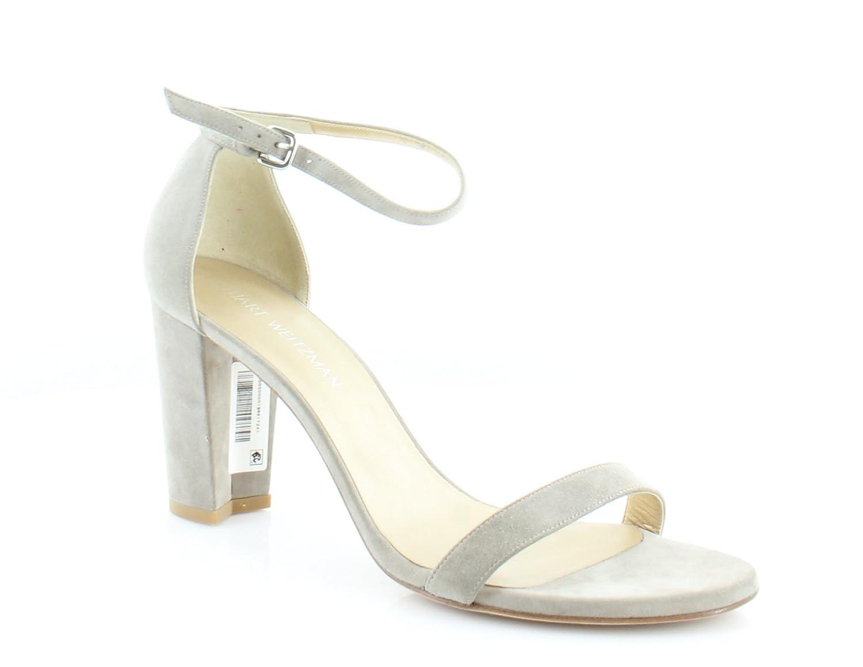 Stuart Weitzman Women's Nearlynude Heeled Sandal B01MFCR86W 9.5 B(M) US|Fossil Suede