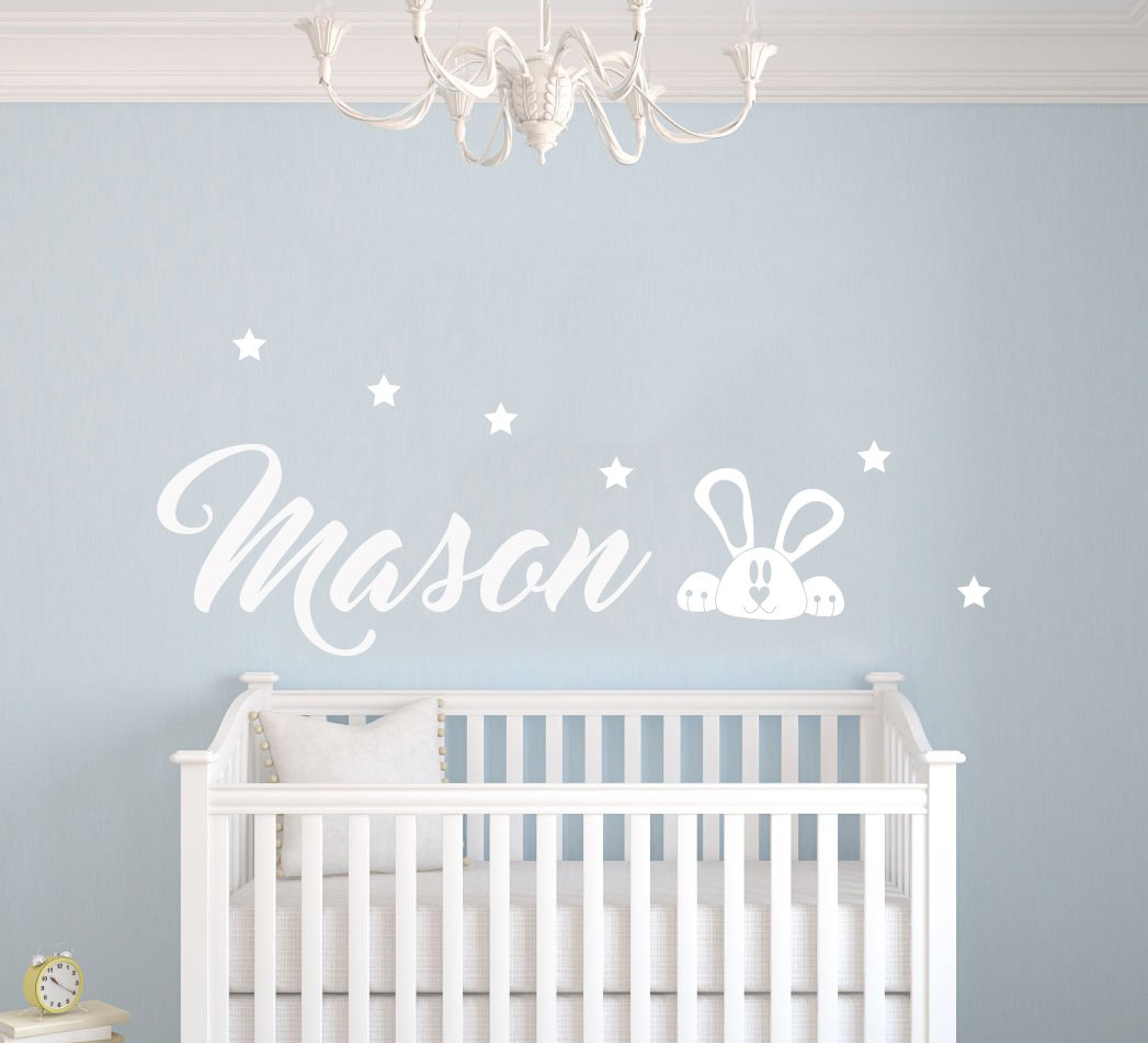 Custom Name Stars And Rabbit Animal Series - Baby Boy - Wall Decal Nursery For Home Bedroom Children(MM26) (Wide 22''x 9'' Height)