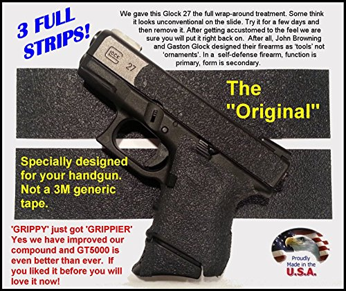GT-5000 (3 strips) Grip Tape for guns, cell phones, cameras, knives, tools - makes anything Grippy.