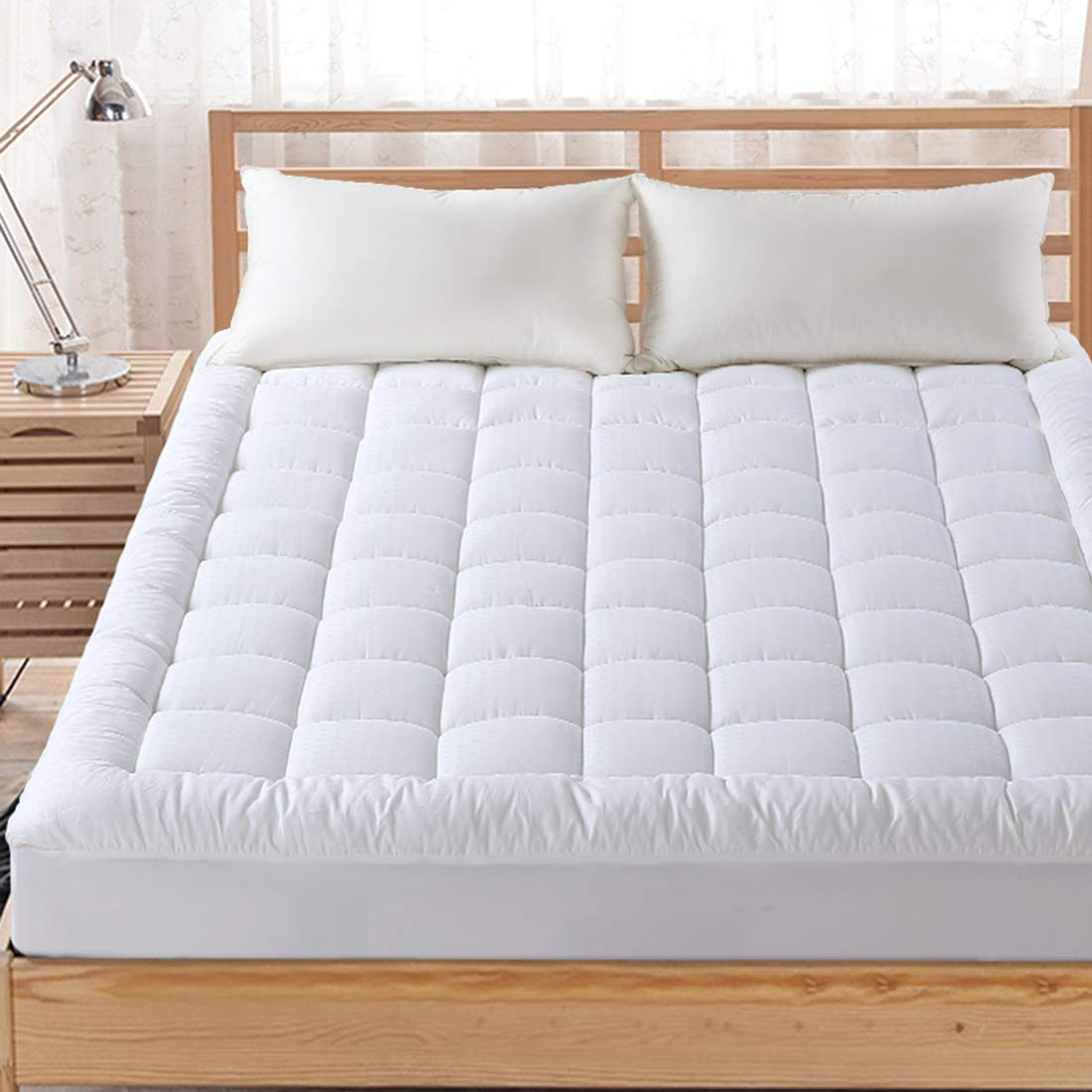 FAIRYLAND Queen Mattress Topper Pillow Top Cooling Quilted Mattress Pad Cover Cotton with Snow Down Alternative Fill(8-21 Inch Deep Pocket)