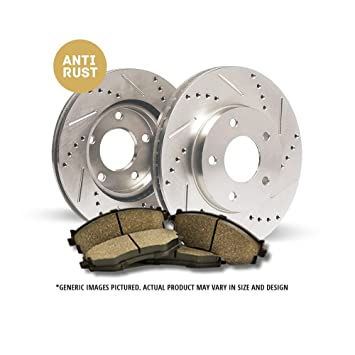 2 Silver Drilled Brake Rotors +4 Ceramic Pads Front Kit Tough-S For: 6lug