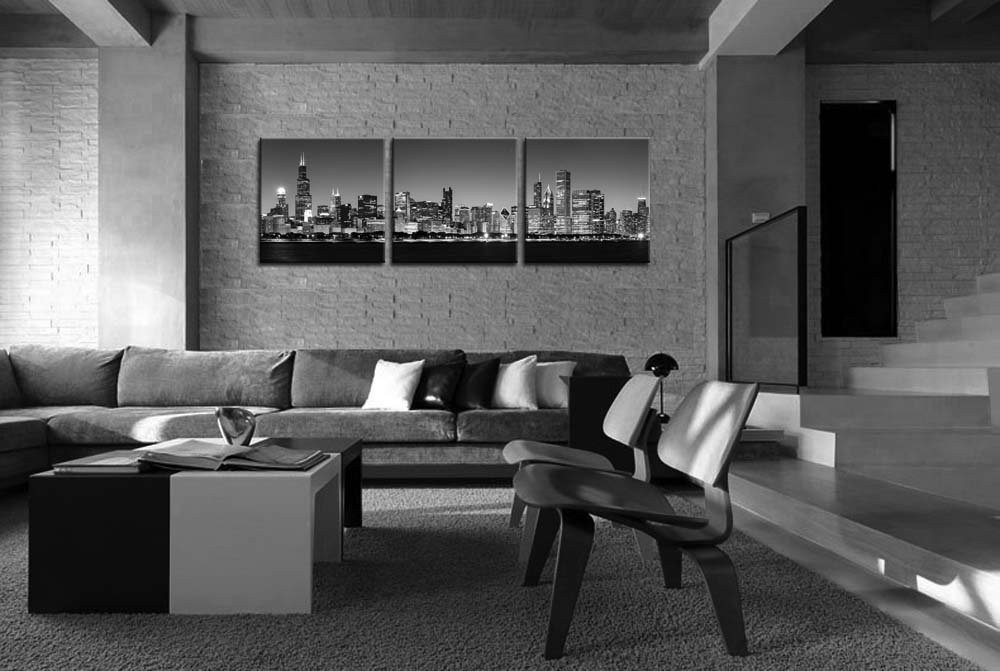 Amazon com canvas print wall art painting for home decor black white chicago skyline night buildings cityscape coastline 3 pieces panel paintings artwork