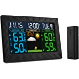 Wireless Weather Station, iLifeSmart Digital Color Forecast Weather Station Alarm Clock with Indoor / Outdoor Wireless Sensor, Temperature Humidity Monitor Thermometer, Time Display Function