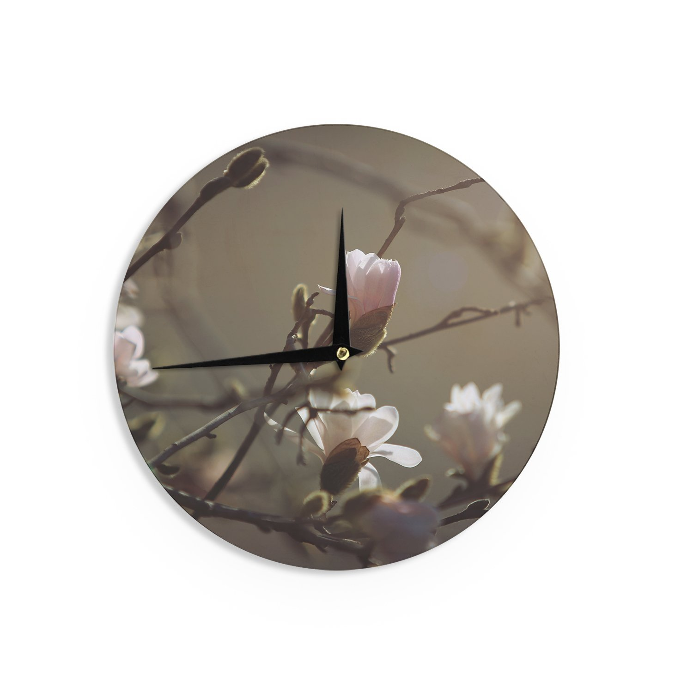 12 Kess InHouse Angie Turner Magnolia Blooms Pink White Wall Clock