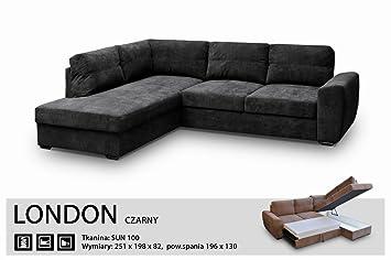 Megan Sofas Sofá de Esquina Bed-London Negro - Fabric-Extra ...