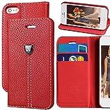 iPhone 5s case,iPhone SE case,iPhone 5 case,by Ailun,Wallet Case,Card Holder Case,Stand Feature,Sheild Button Case,Flip Cover Case - [Red]