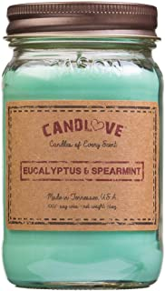 product image for Candlove Euaclyptus & Spearmint Scented 16oz Mason Jar Candle 100% Soy Made in The USA