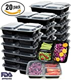 : Meal Prep Containers 20 Pack 3 Compartment Food Storage Container with Lids-Microwave,Dishwasher Safe,Reusable-Portion Control Plates,21 Day Fix+20 Cutlery(36oz)