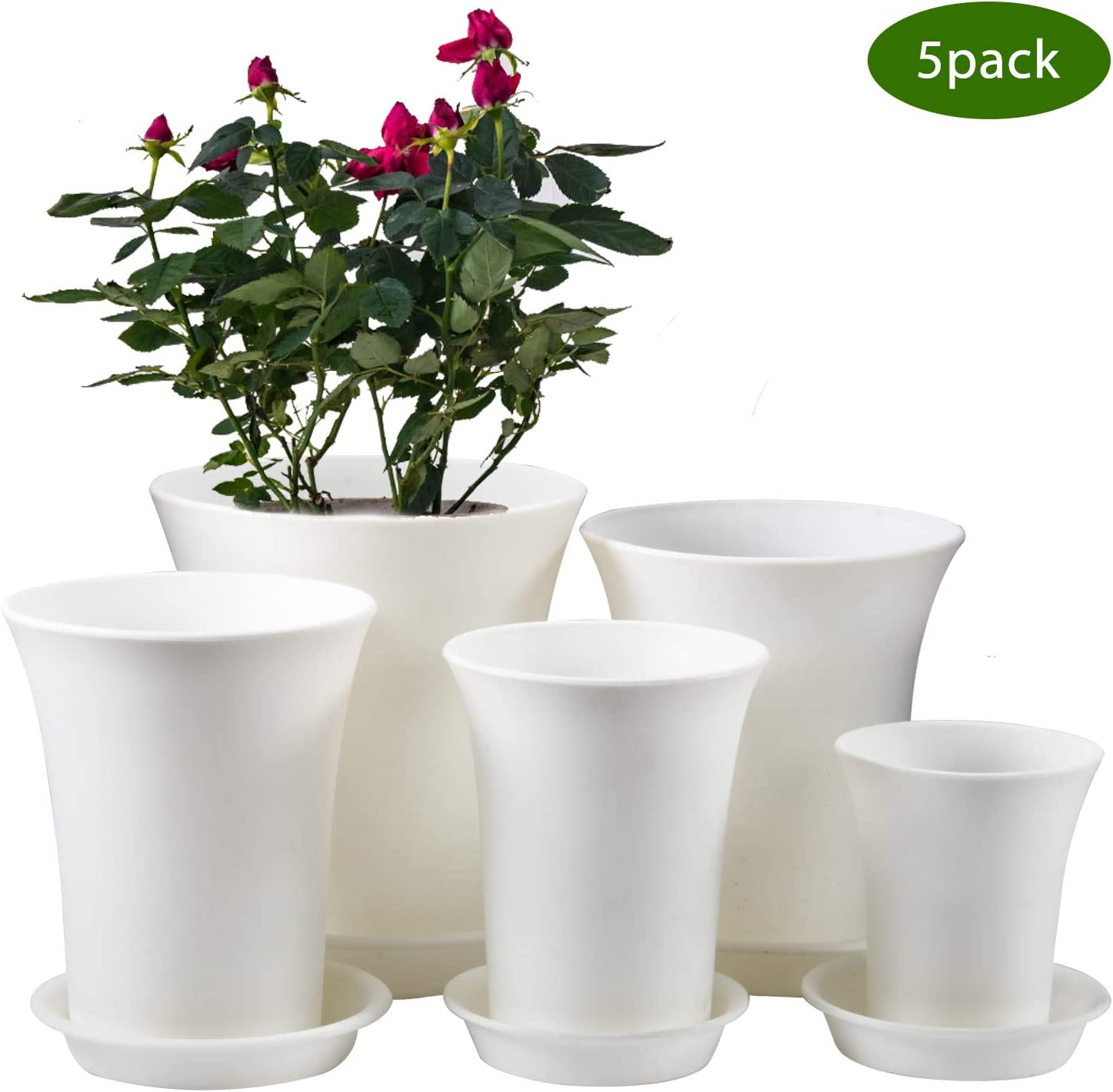 Plants not Included 7.1 Inch Plastic Flower Pot Outdoor Planters with Drainage Hole and Tray ZOUTOG Plant Pots Pack of 10