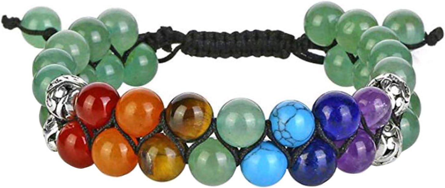 W4367 - Pulsera de 7 chakras con piedras de curación de doble capa, reiki, yoga, meditación, para hombres y mujeres, color verde