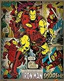 Pyramid International Iron Man Retro Marvel Comics Mini Poster, Plastic/Glass, Multi-Colour, 40 x 50 x 1.3 cm
