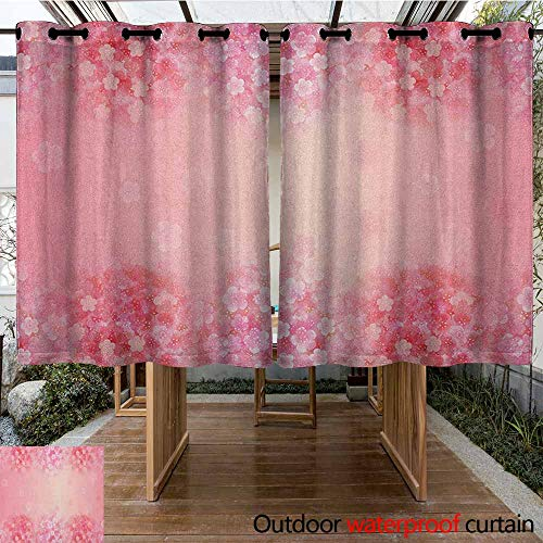 AndyTours Outdoor Curtain Panel for Patio,Light Pink,Plum Blossom Botany Beauty Natural Spring Flowers Seasonal Background Print,for Patio/Front Porch,K140C115 Coral Ruby