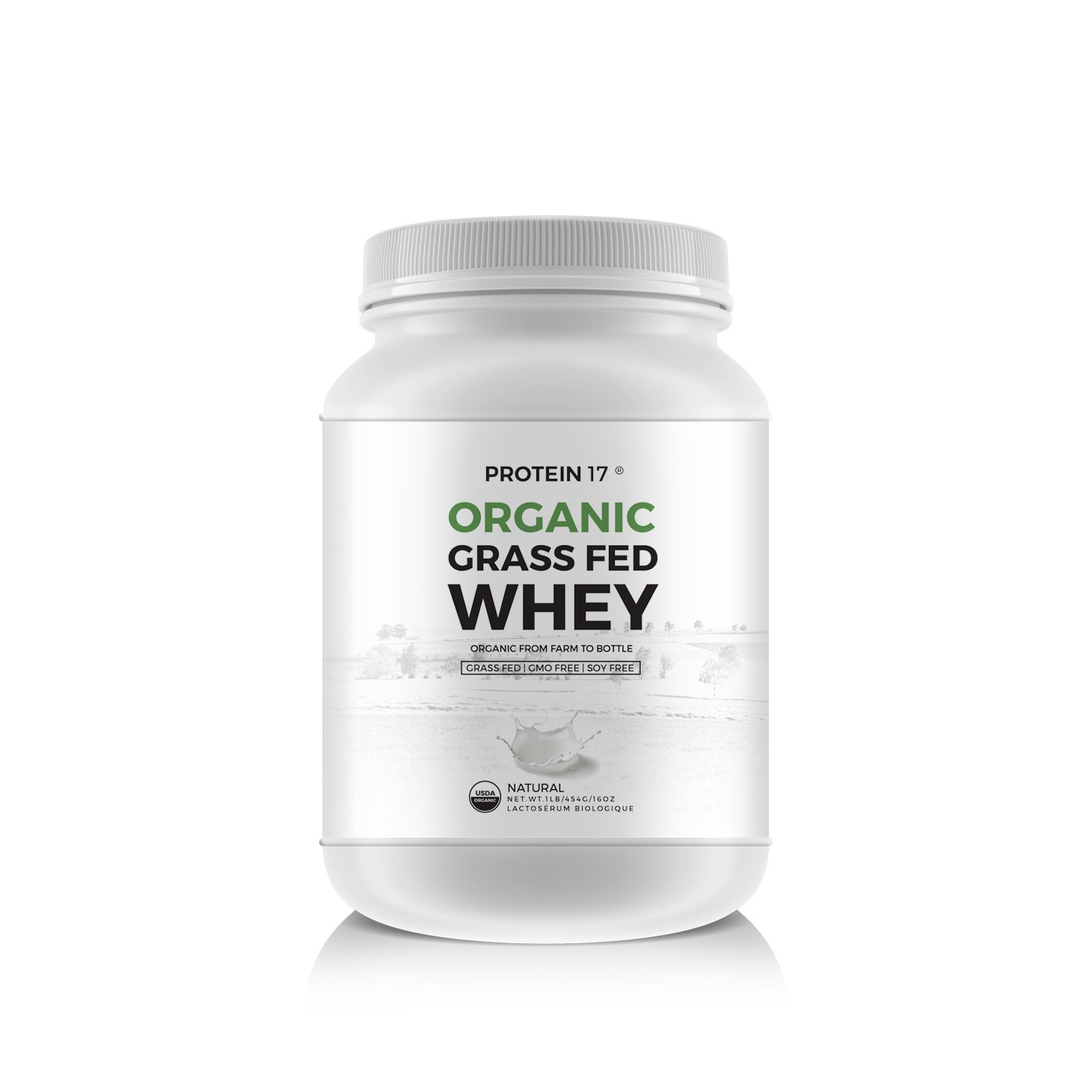 New and Unique - The Ultimate Organic, Grass-Fed Whey Protein, Delicious, 1lb/16oz/454g - Protein 17® - Excellent Value by Weight by Protein 17