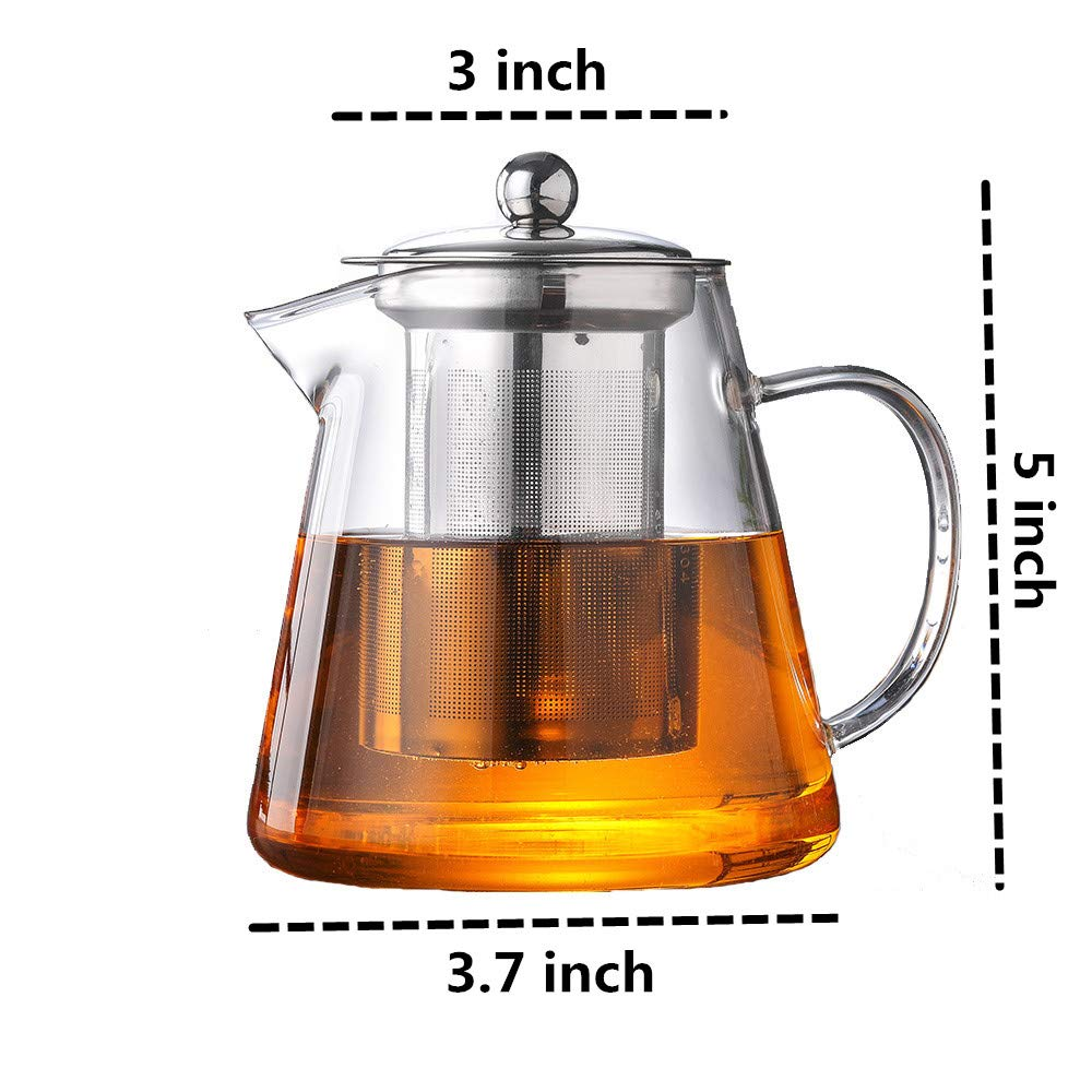 OBOR Small Glass Teapot with 304 Stainless Steel Infuser for Blooming and Loose Leaf Borosilicate Tea Kettle Tea Pot(450ml/15oz)