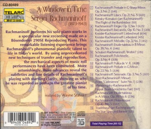 A Window in Time: Rachmaninoff Performs His Solo Piano Works by Telarc