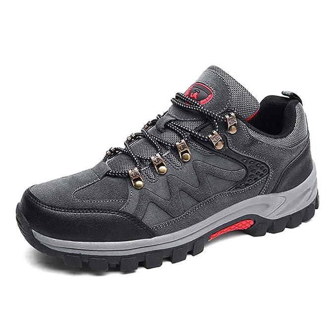 FHTD Zapatos para caminar para hombre Zapatillas de deporte antideslizantes Botas de trekking Piel de ante de corte: Amazon.es: Ropa y accesorios