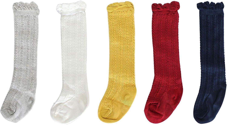 Bestjybt Baby Knee High Socks Tube Ruffled Stockings Infant Toddler Knee Socks