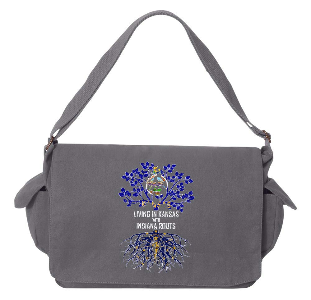 Tenacitee Living In Kansas with Indiana Roots Grey Brushed Canvas Messenger Bag