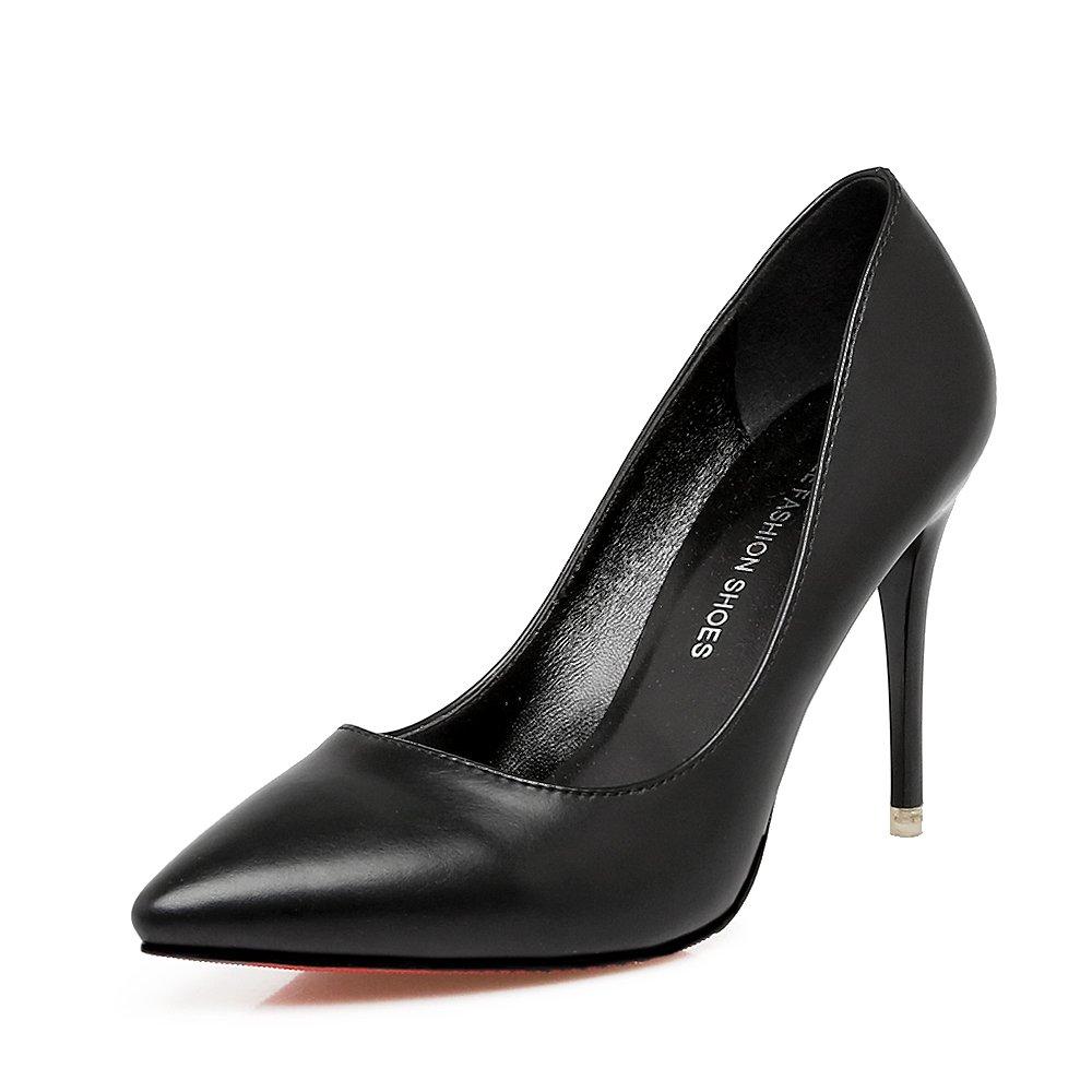 Xue Qiqi Tipp High Heels Mädchen fein mit wilden wilden wilden Lack Leder Schuhe in der Gemeinschaft mit dem Licht einer einzigen Schuh 34 Schwarz [9 5 cm] ac28fd