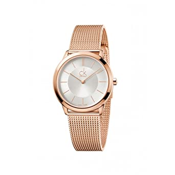 Calvin Klein K3M22626 Ladies Minimal Rose Gold Plated Mesh Bracelet Watch