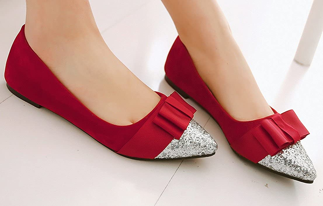 WAROFT Womens Chic Bows Sequined Pointed Toe Flat Loafers Slip On Fashion Casual Driving Shoes Size 4-17