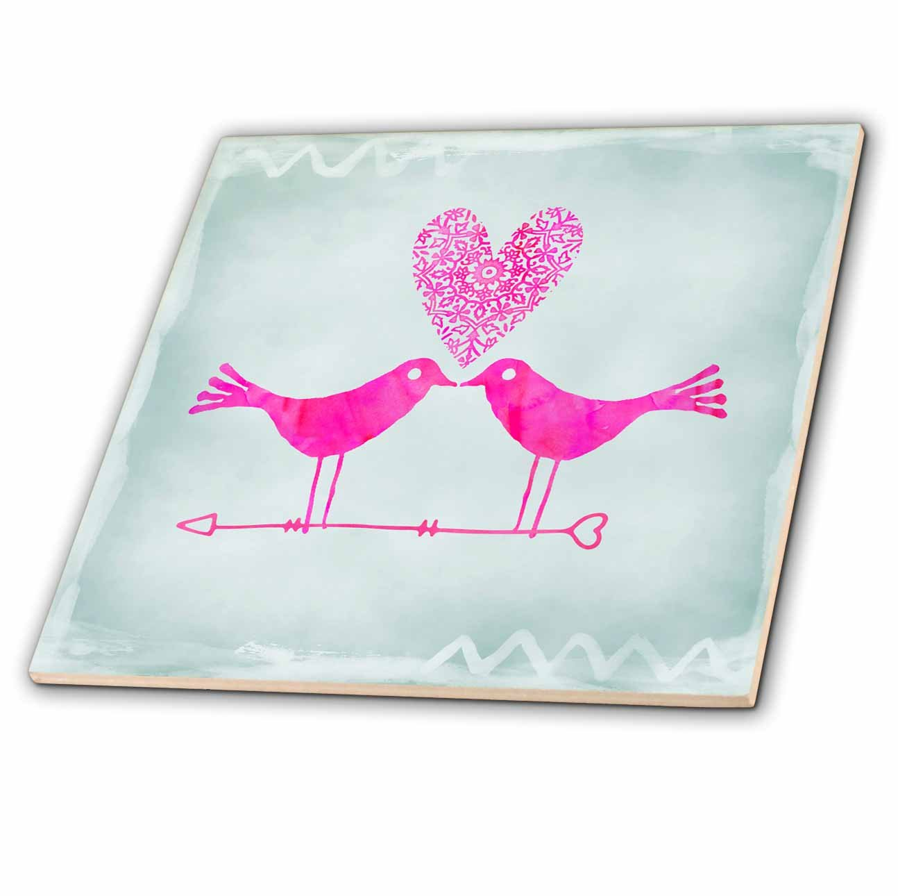 3dRose ct_282553_1 Pink Watercolor Love Birds On Grey Ceramic Tiles,