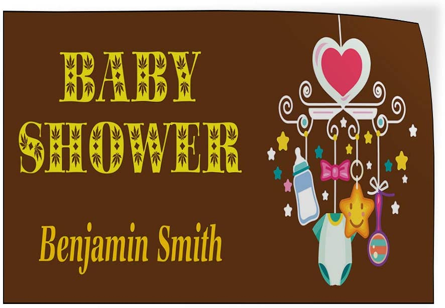 Custom Door Decals Vinyl Stickers Multiple Sizes Baby Shower Girl Name Brown Lifestyle Baby Shower Celebration Outdoor Luggage /& Bumper Stickers for Cars Brown 30X20Inches Set of 10