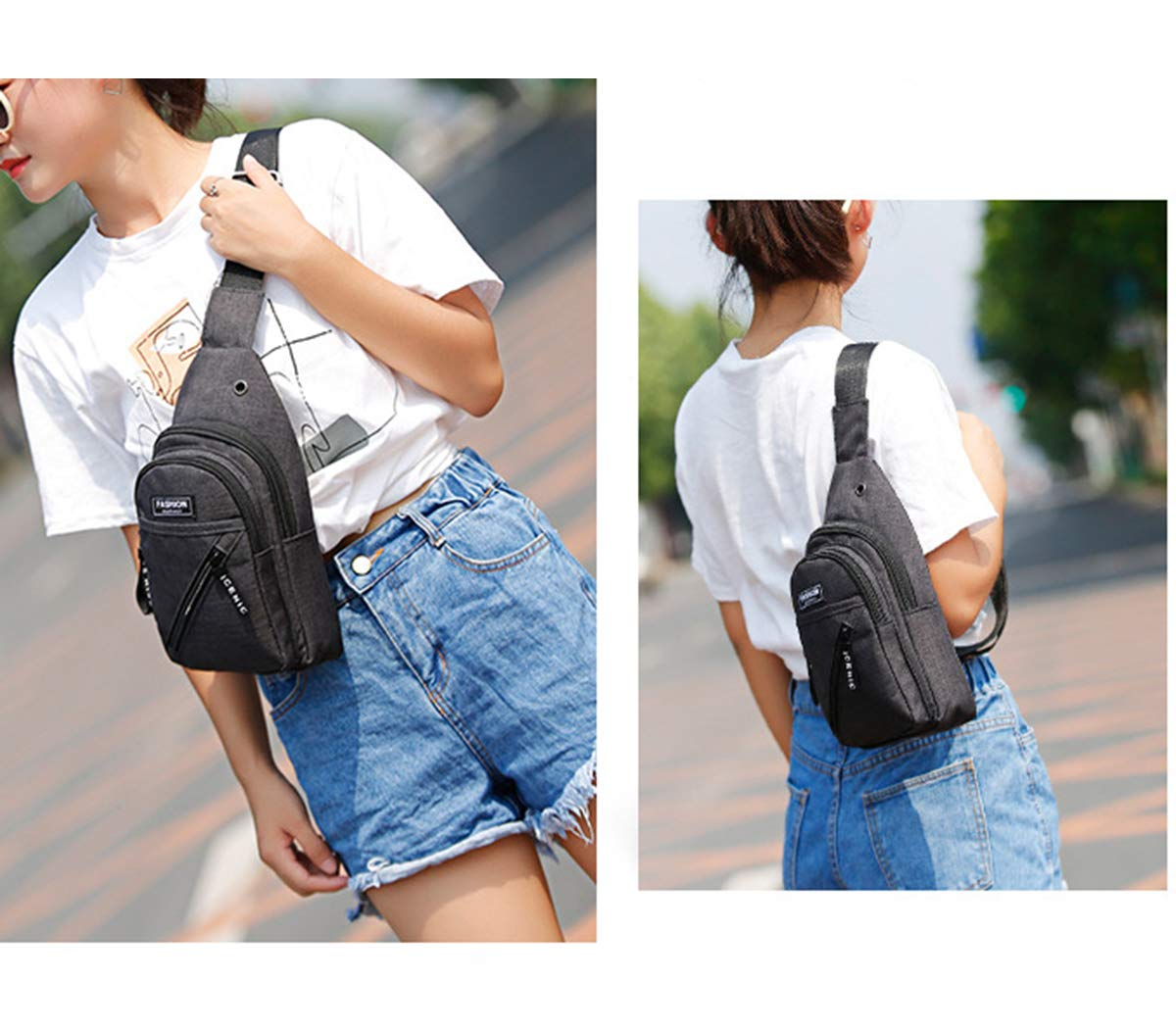FUOE Sling Bag Crossbody Bag Shoulder Chest Back Pack Anti Theft Travel Bags (Style2-Black) by FUOE (Image #3)
