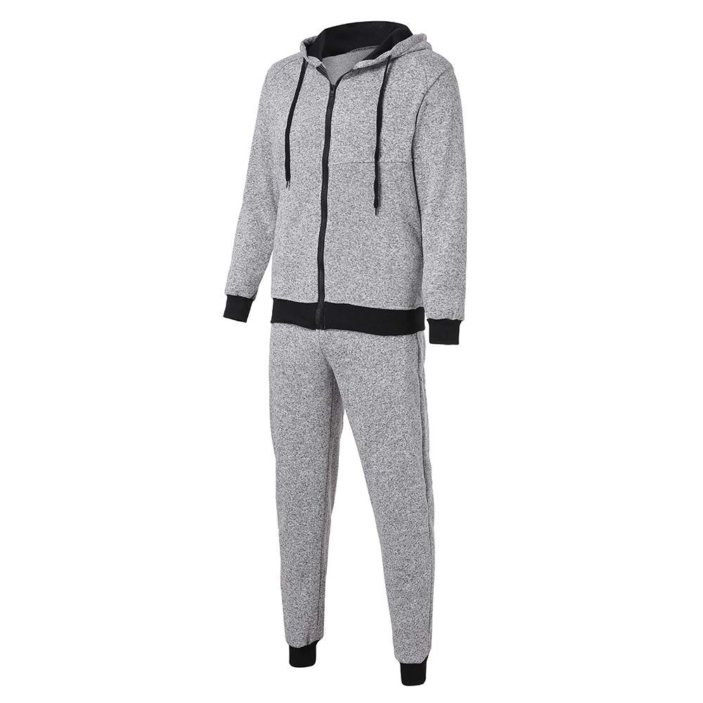 Sumen Clearance!Mens Tracksuit Set Contrast Cord Hooded Jacket Bottom Jogger Gym Sport Suit