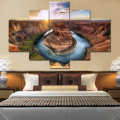 House Decorations Living Room Horseshoe Bend Grand Canyon National Park Paintings U.S.A Landmark Picture 5 Panel Canvas Wall Art Modern Artwork Framed Ready to Hang Posters and Prints(60''Wx40''H) (Best Shoes For Grand Canyon)