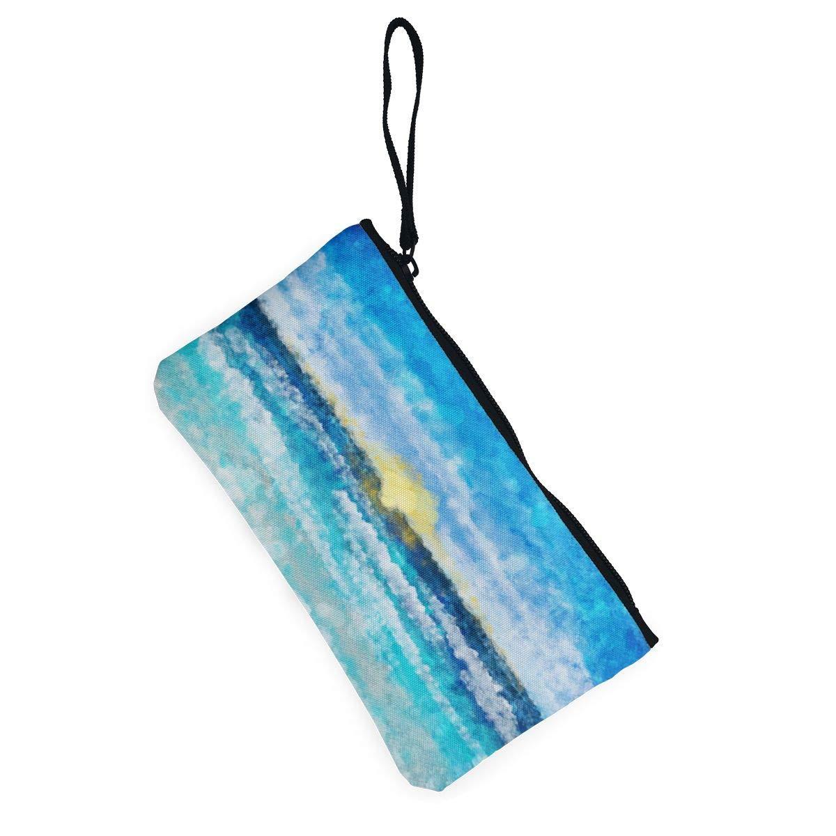 Make Up Bag,Cellphone Bag With Handle Watercolor Sea Landscape Zipper Canvas Coin Purse Wallet