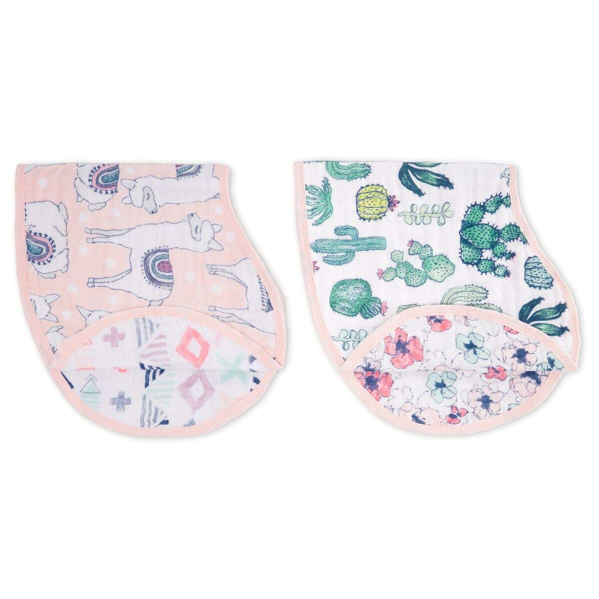 aden + anais Burpy Baby Bib, 100% Cotton Muslin, 4 Layer Multi Use Burping Cloth, Super Soft & Absorbent Burp Rag for Infants, Newborns and Toddlers, 2 Pack, Trail Bloom Llamas: Baby