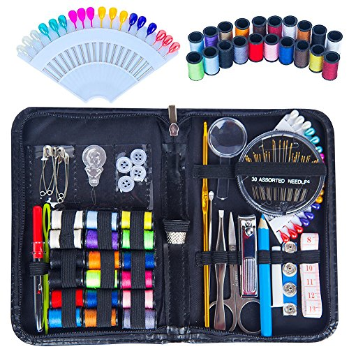 Chenkoo Compact Emergency Sewing Kit with Sewing Supplies, Extra 20 Spools of Thread and 18 Pins - (18 Spool Thread Kit)
