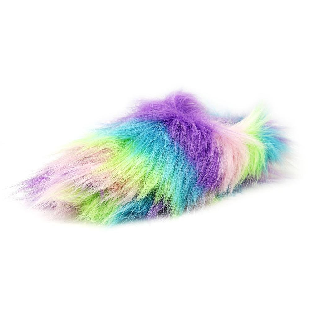 Betsey Johnson Womens Splash Faux Fur Closed Toe Slip On Slippers
