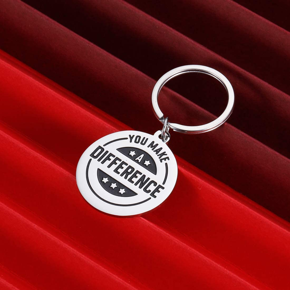 Thank You Gift Keychain for Yourself Coworker Volunteer Appreciation Gifts for Colleague Coach Mentor Employee Staff Gift You Make a Difference Christmas Inspirational Keyring Stocking Stuffer