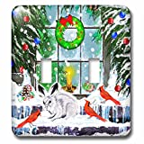 3dRose Dream Essence Designs-Holidays Christmas - A festive Christmas window scene with decorations, cardinals and bunny - Light Switch Covers - double toggle switch (lsp_269502_2)