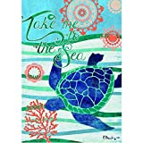 """""""Take Me to the Sea """" – Turtle – STANDARD Size, 28 Inch X 40 Inch, Decorative Double Sided Flag – Exclusively Made in the USA – Copyrights and Licensed by Custom Decor Inc. Review"""