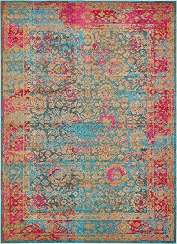 Unique Loom Medici Collection Floral Vibrant Colors Traditional Blue Area Rug 8 0 x 11 0