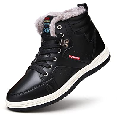cc1fef3d0ebac BINSHUN Winter Shoes for Men Leather Waterproof Sneakers Boots Anti-Slip  High Tops Hiking Boots for Outdoor Fur Lined