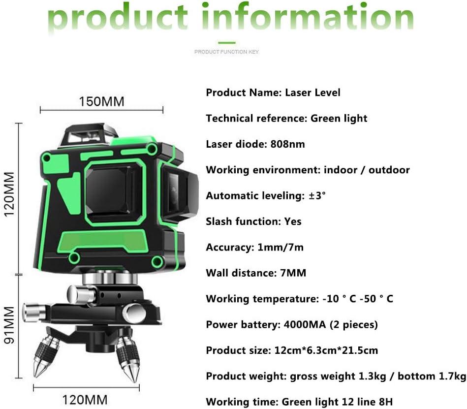 JIRCA 3D de niveau 12 Niveau laser vert /à mise /à niveau automatique avec tr/épied niveau laser rotatif /à 360 degr/és Ligne horizontale commutable /à mise au point automatique C