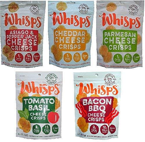 (Whisps Cheese Crisps (2.12 ounce) 100% Cheese Low Carb Crunchy Snack Assortment (5 Pack))
