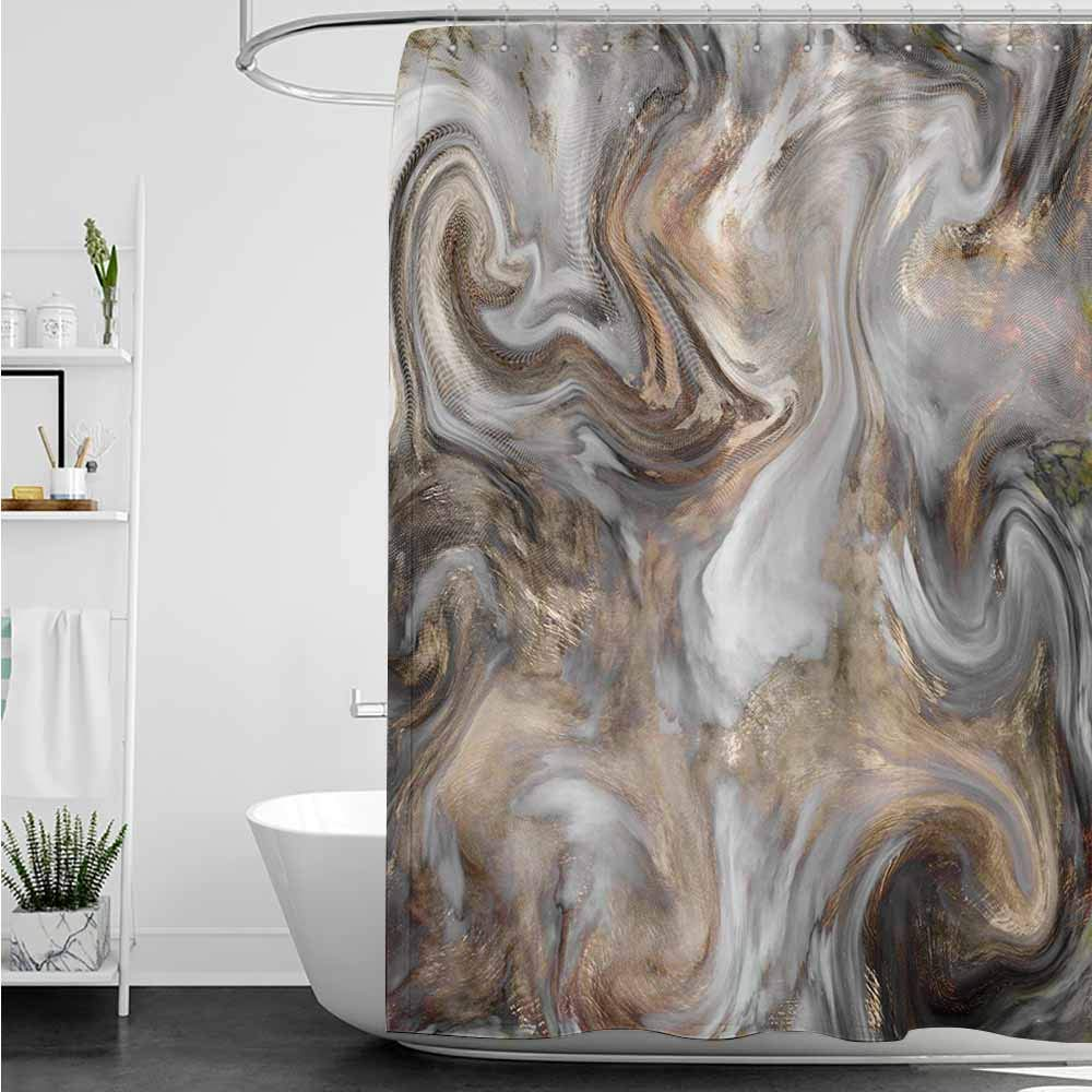 Womens Shower Curtain,Marble Retro Style Paintbrush Colors in Marbling Texture Watercolor Artwork,Fabric Shower Curtain Bathroom,W72x96L,Sand Brown Dust Pale Grey