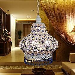Injuicy Lighting S Size The Mediterranean Stytle K9 Blue Crystal Lamp Pendant Chandelier Ceiling Lighting (White)