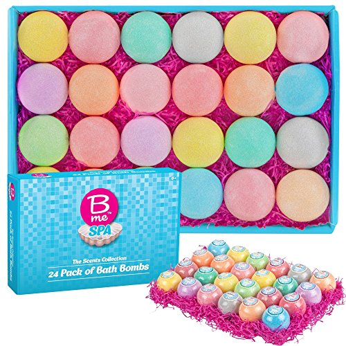 Set - The Scents Collection - Pack of 24 Colorful Individually Wrapped 80g Bath Bomb Fizzies in a Variety of Fruity, Floral & Tropical Fragrances - Women, Teens & Kids 6+ ()
